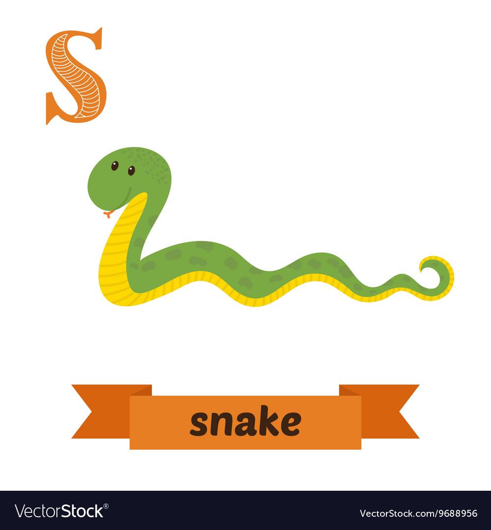 Snake S letter Cute children animal alphabet in Vector Image