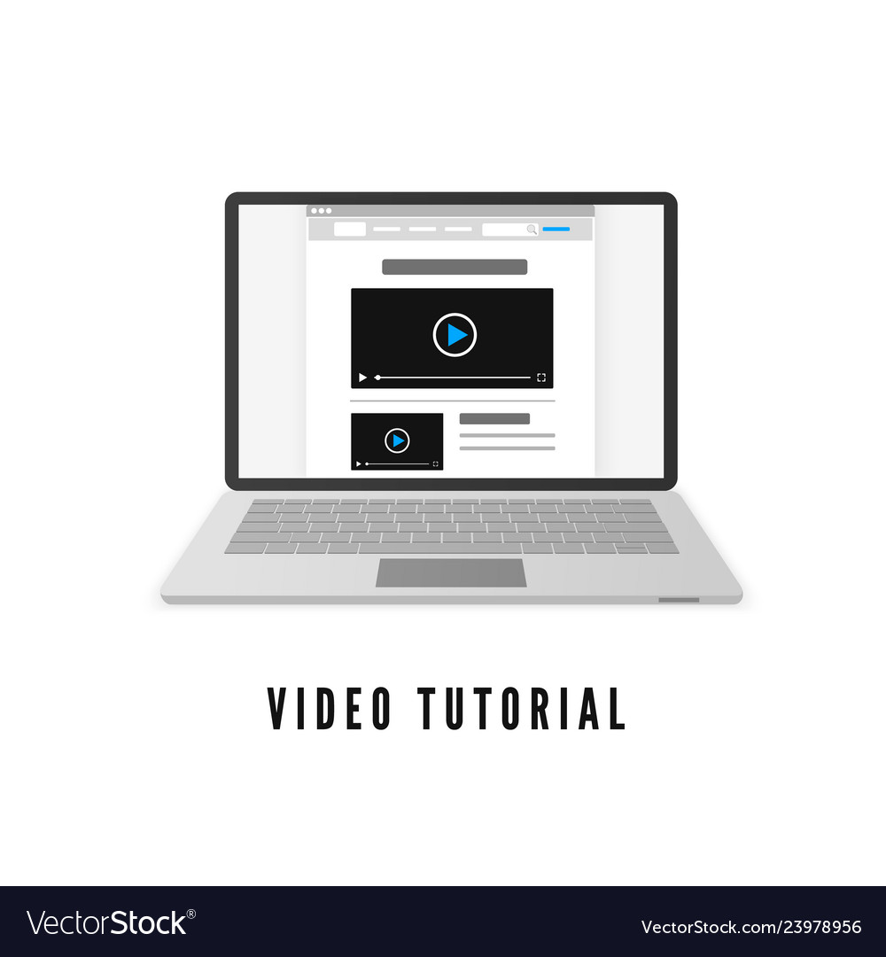 Video tutorial laptop with website on monitor