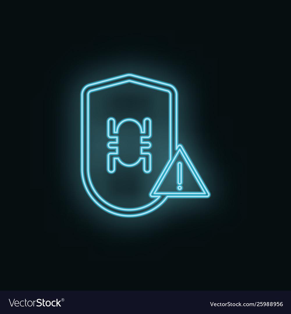 Virus shield problem neon icon web development