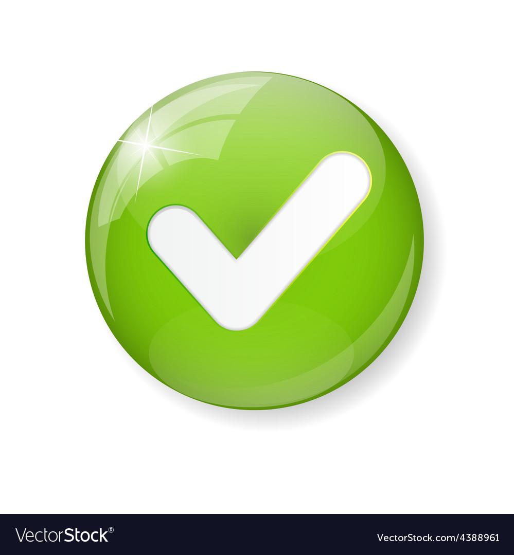 Green Check Mark Icon Button vector image