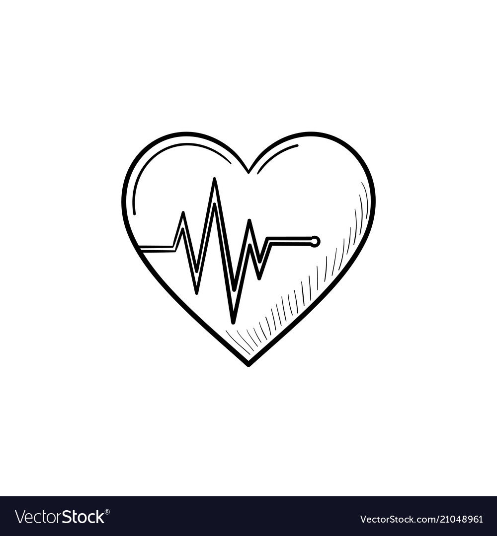 Heart beat rate hand drawn outline doodle icon