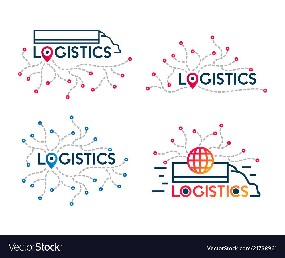 Logistics icons company business logo truck