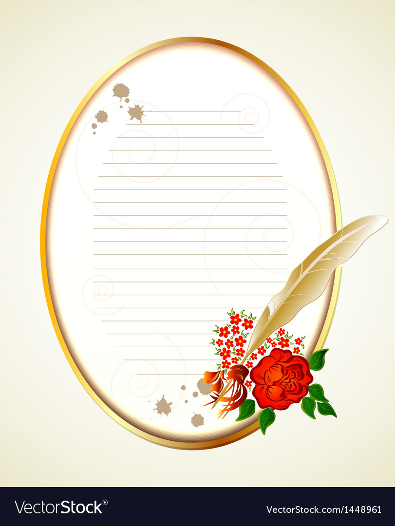Paper feather and rose background