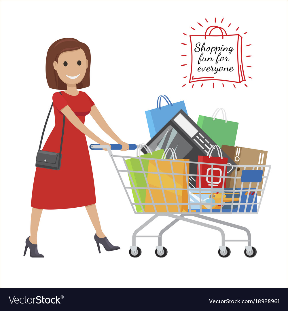 shopping fun for everyone cartoon woman with cart vector image. Black Bedroom Furniture Sets. Home Design Ideas