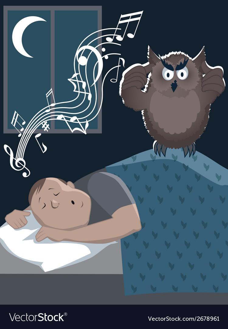 Snoring man and annoyed owl vector image