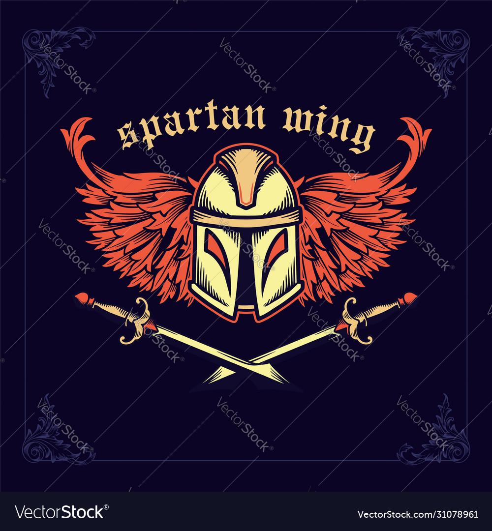 Spartan helmet with crossed swords and wings
