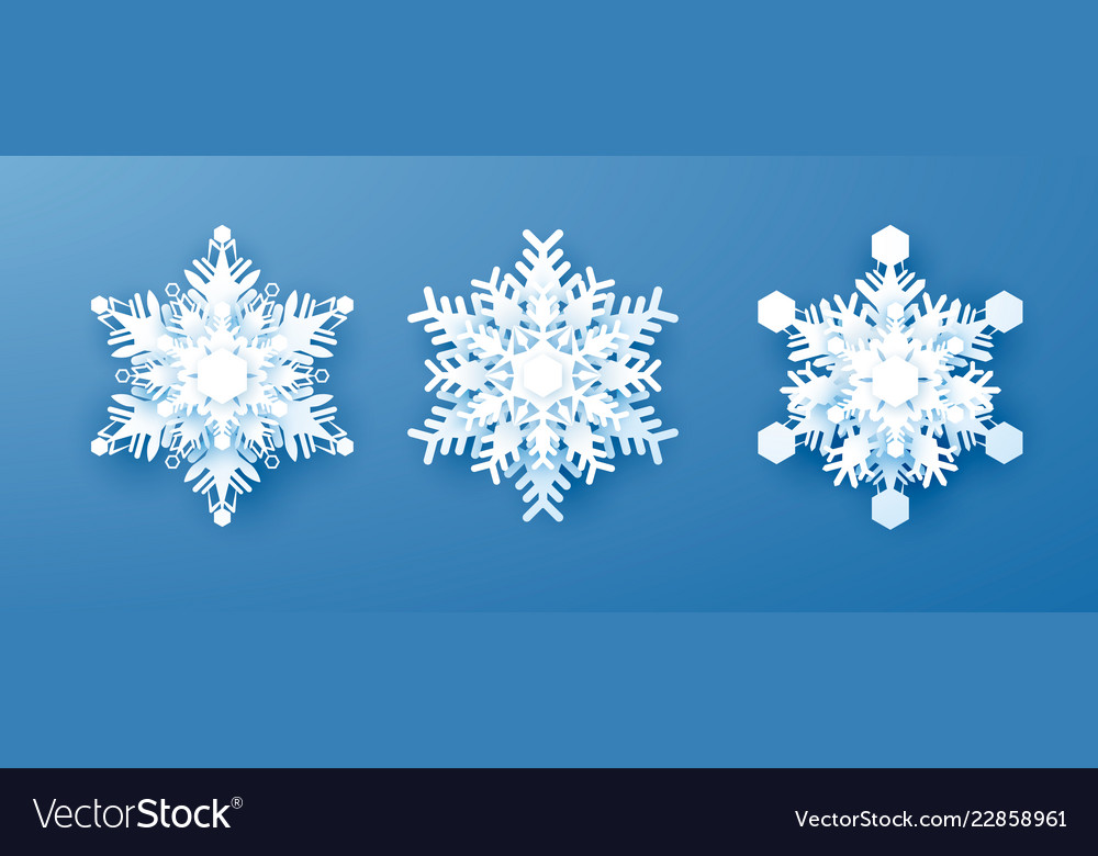 White paper snowflakes set new year and christmas