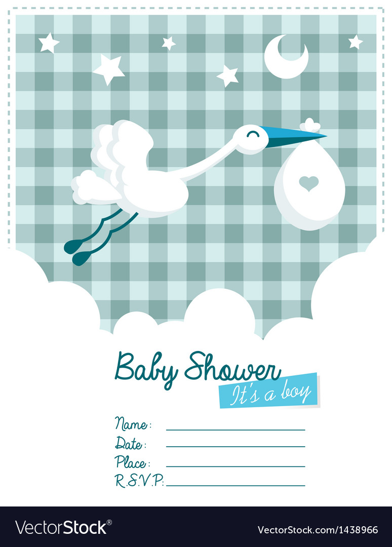 baby boy invitation with stork royalty free vector image