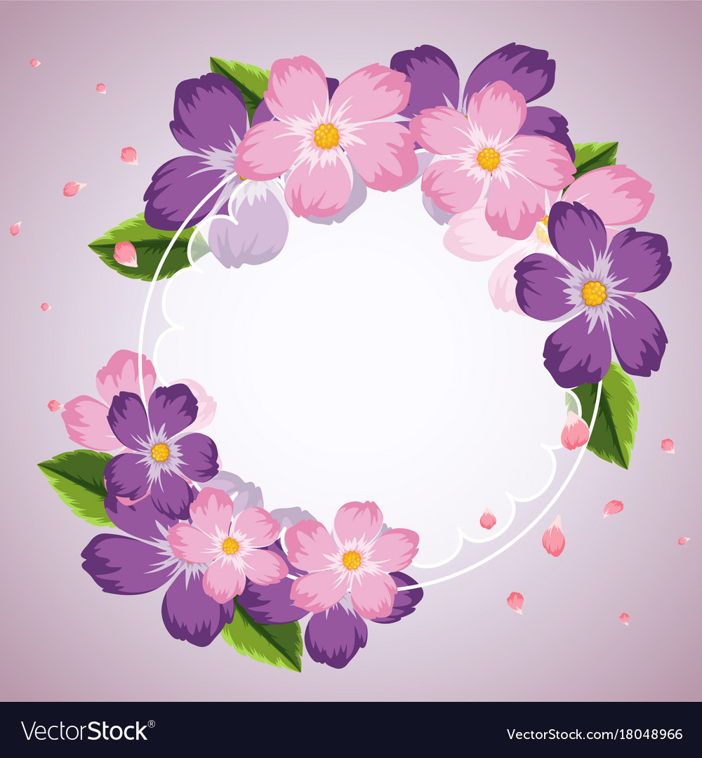 Border Template With Purple And Pink Flowers Vector Image