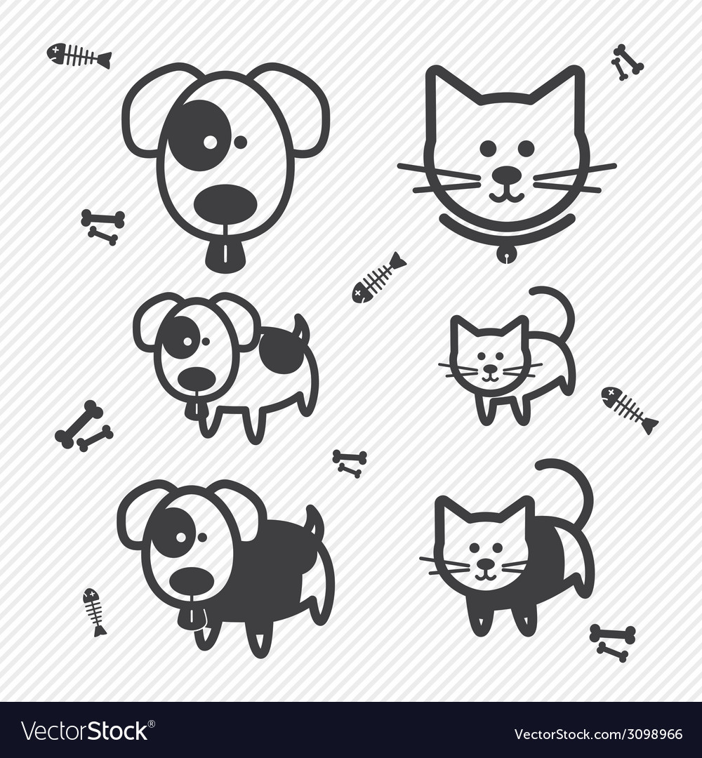 Cat and Dog icons vector image