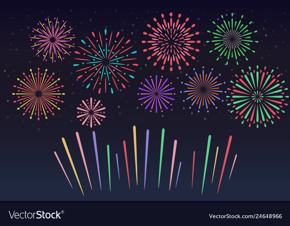 Colorful fireworks on night sky background