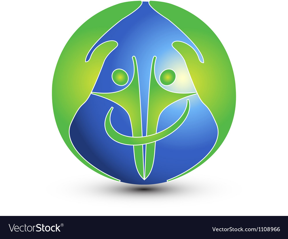 Hands and people protect the world logo