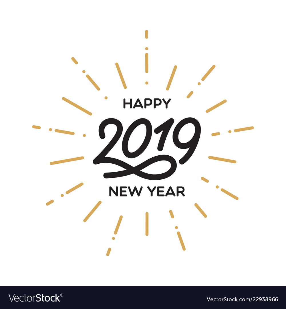 Happy new year 2019 lettering template greeting