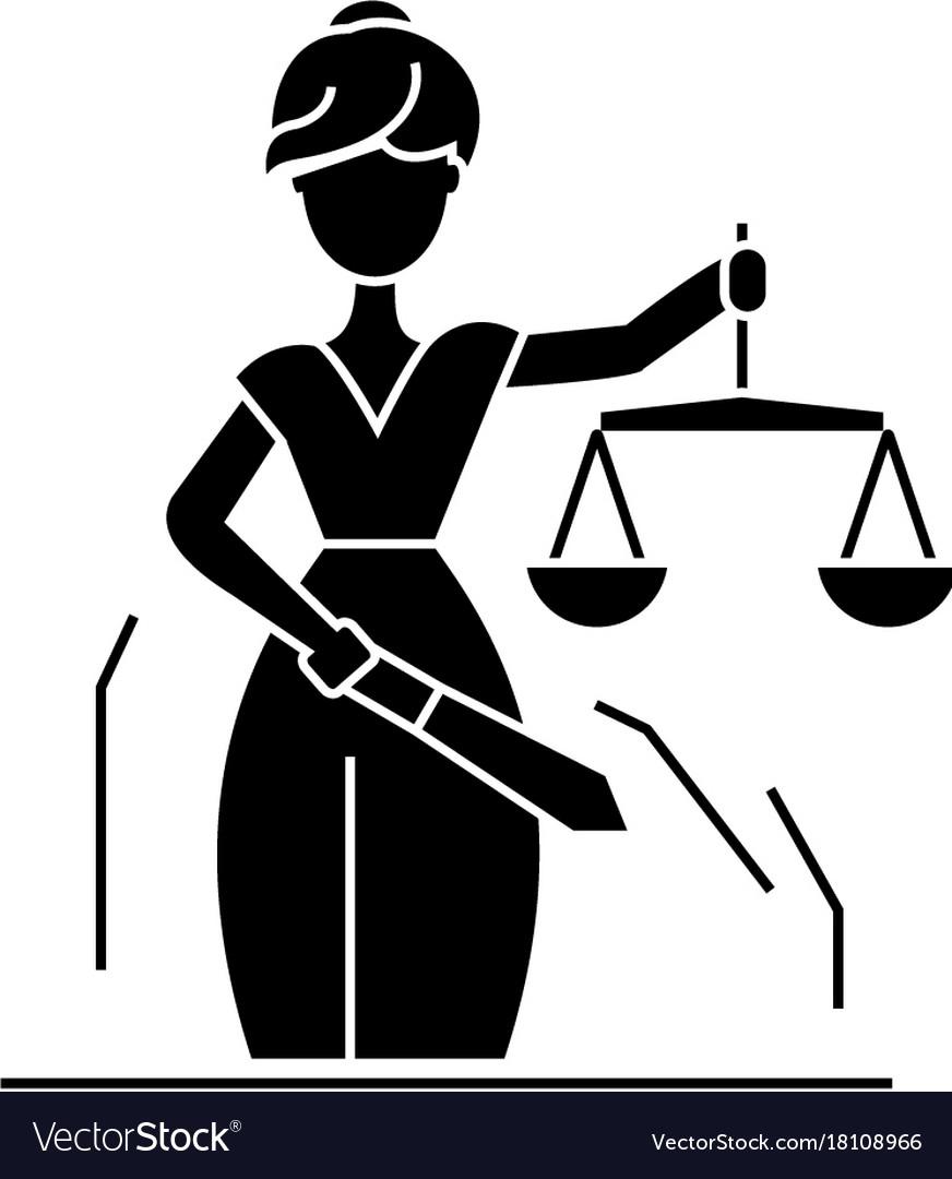 Justice statue icon black vector image