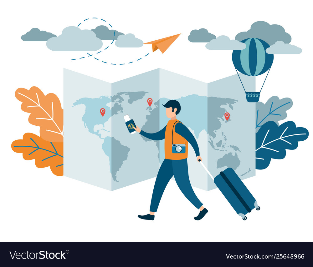 People traveling design a man with a suitcase