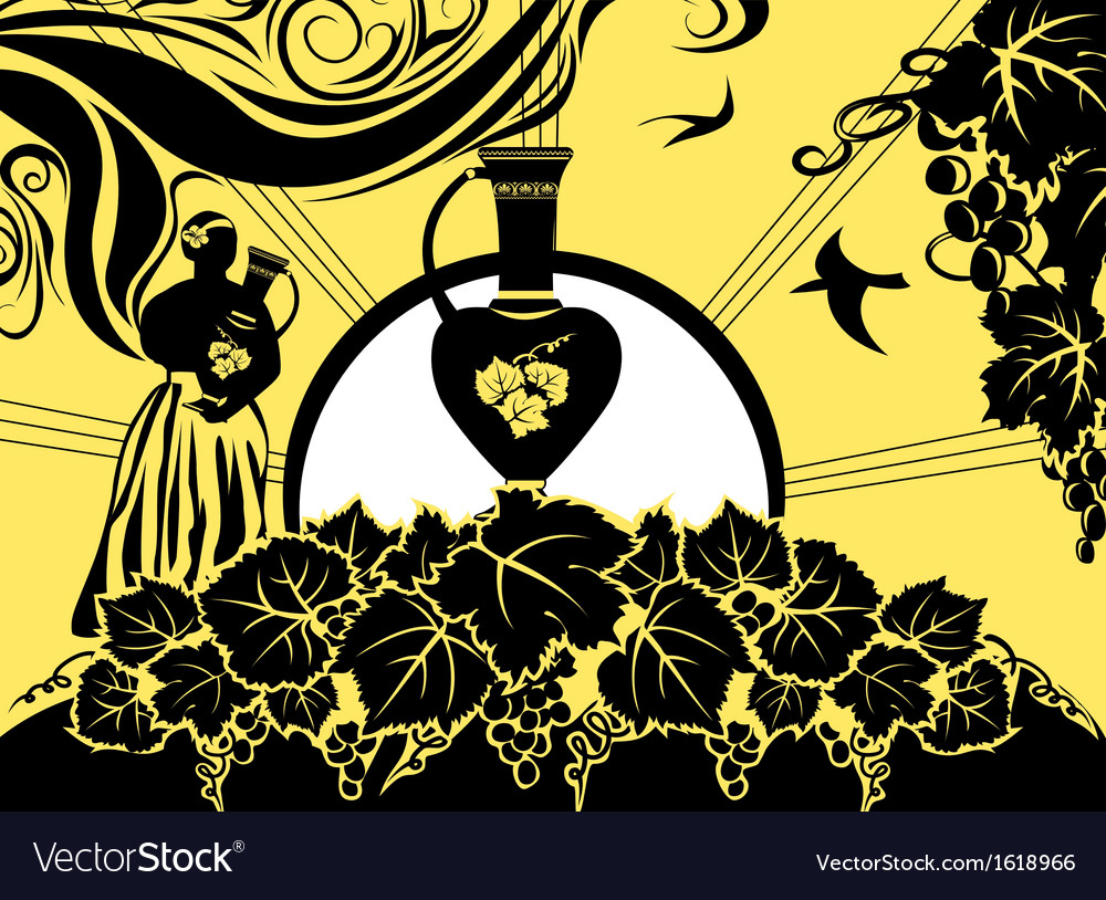 Retro background label grapes and wine vector image