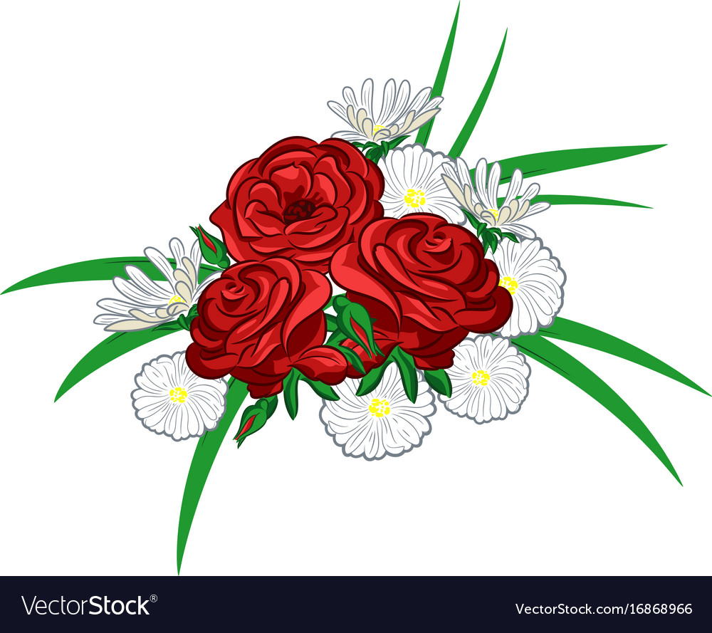 Roses and daisies Royalty Free Vector Image - VectorStock