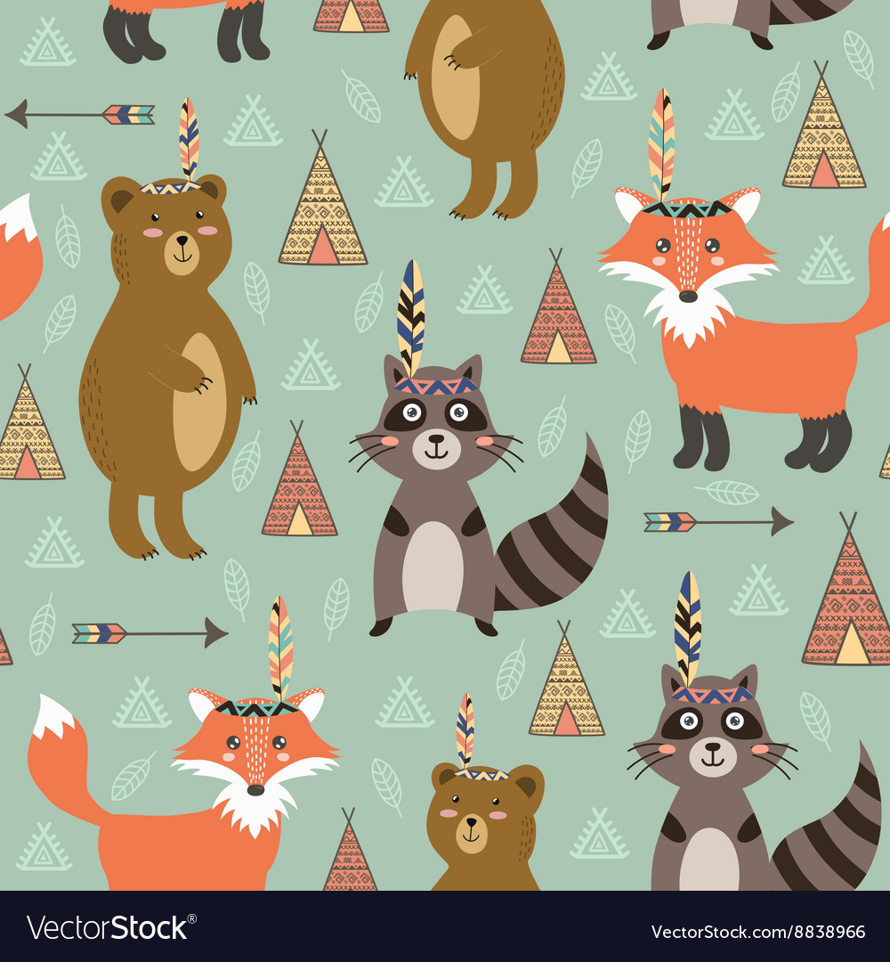 Tribal seamless pattern with cute animals