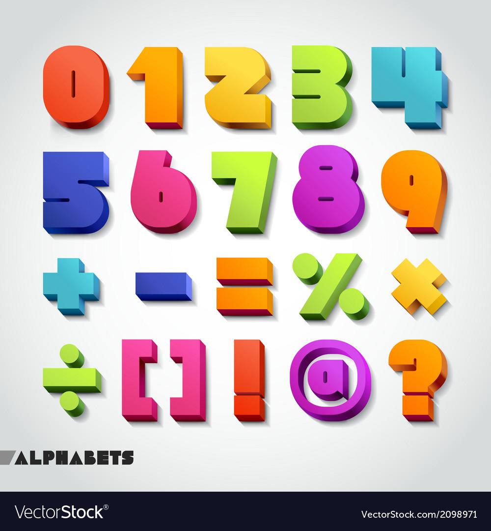 3D alphabet number colorful