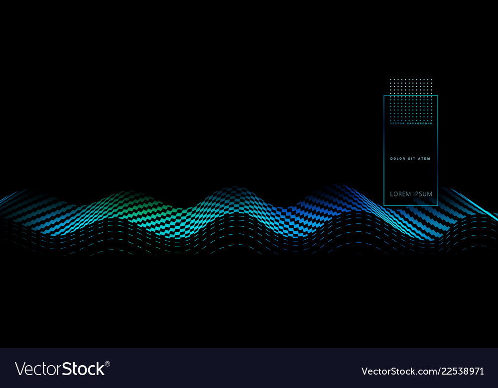 Abstract background with blue wave on black