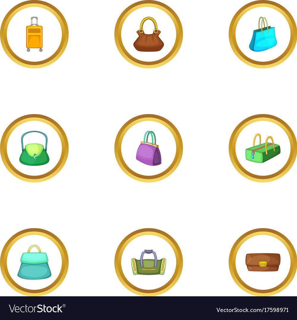 Bags For All Occasion Icons Set Cartoon Style Vector Image