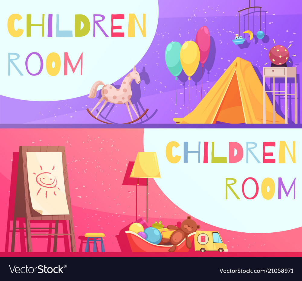 Children room horizontal cartoon banners