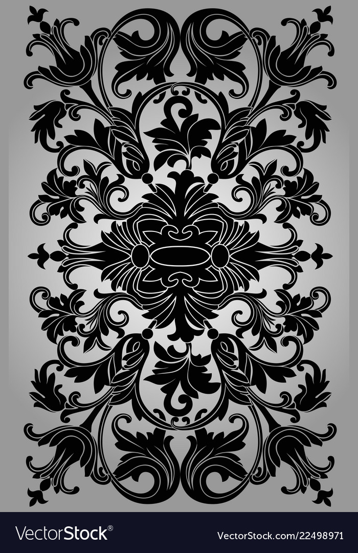 Classic black ornament on a gray background
