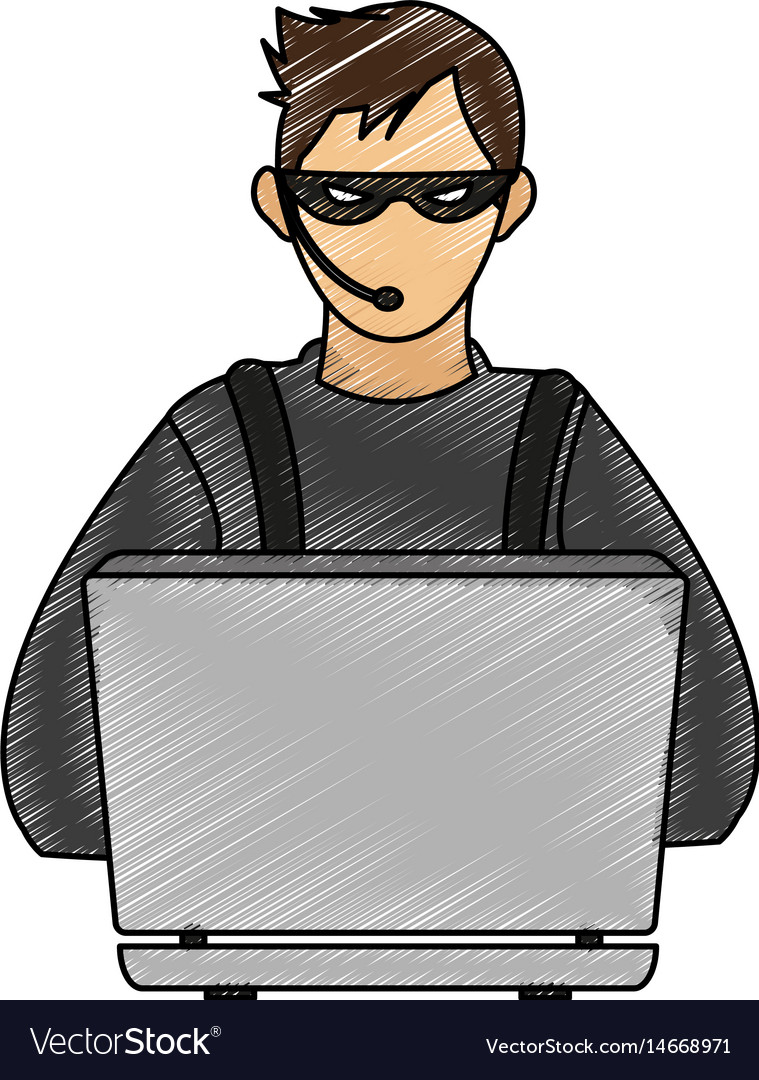Color pencil image cartoon hacker sitting at the vector image