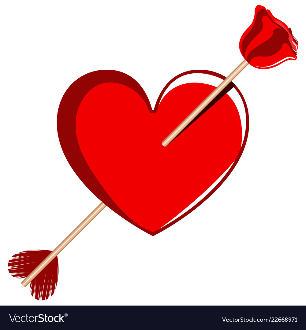 Cupid Arrow On A Heart Shape Valentine Day Vector Image