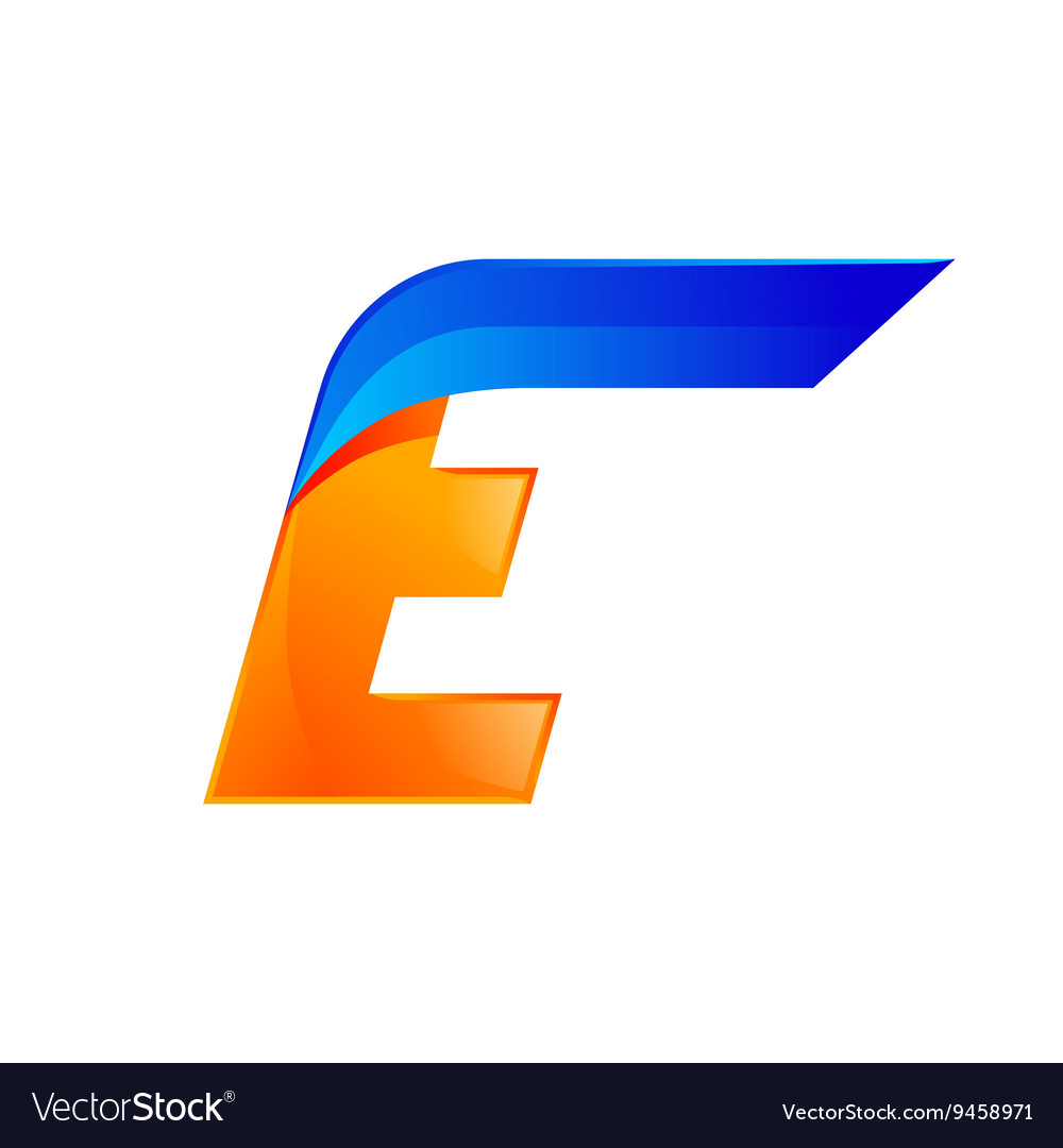 E letter blue and Orange logo design Fast speed vector image