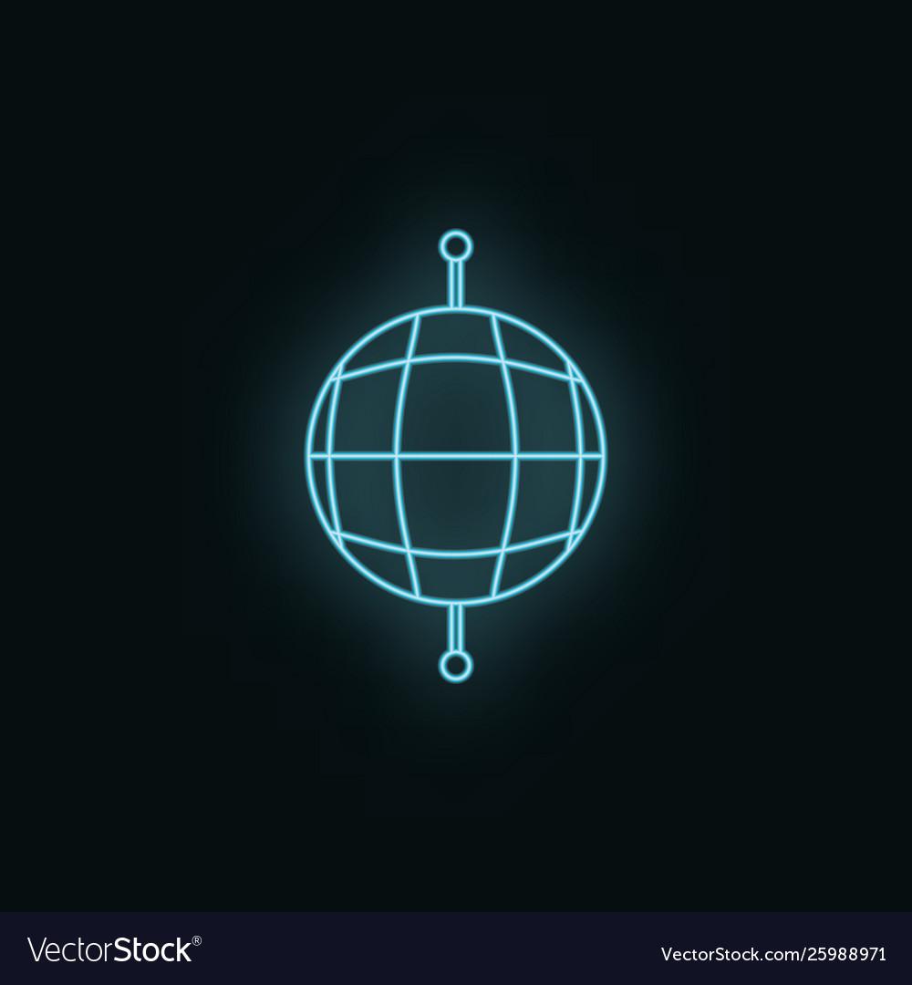 Global network neon icon web development icon