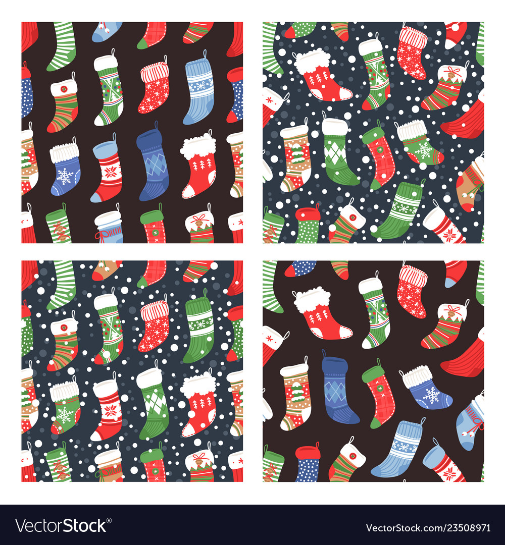 Hand drawn set of seamless patterns with cozy