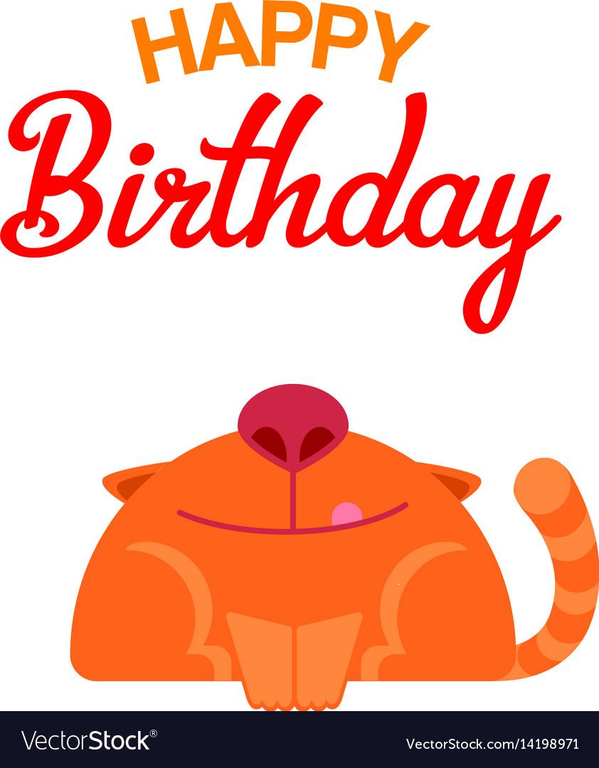 Happy Birthday Cat Card Royalty Free Vector Image