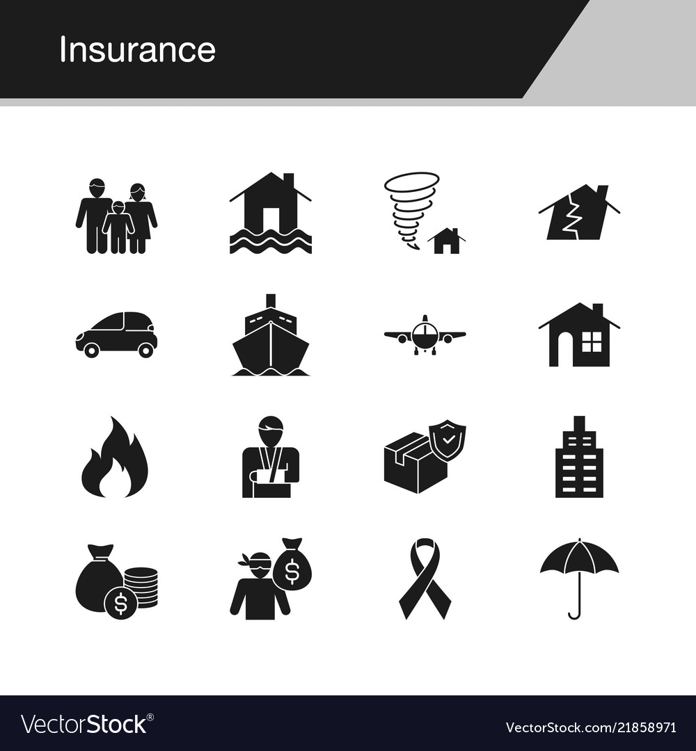 Insurance icons design for presentation graphic