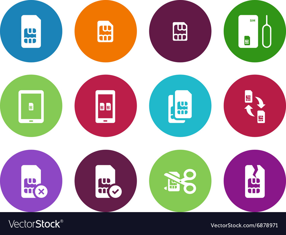 Internet 3g and 4g lte sim card circle icons on