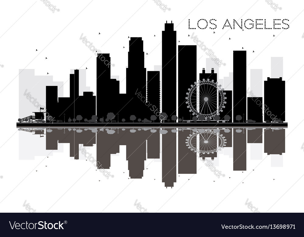 Los angeles city skyline black and white