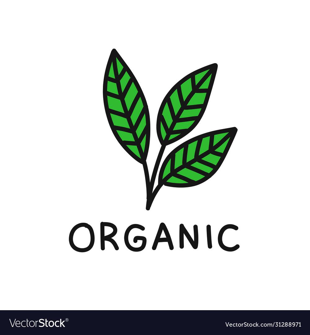 Organic symbol doodle icon Royalty Free Vector Image