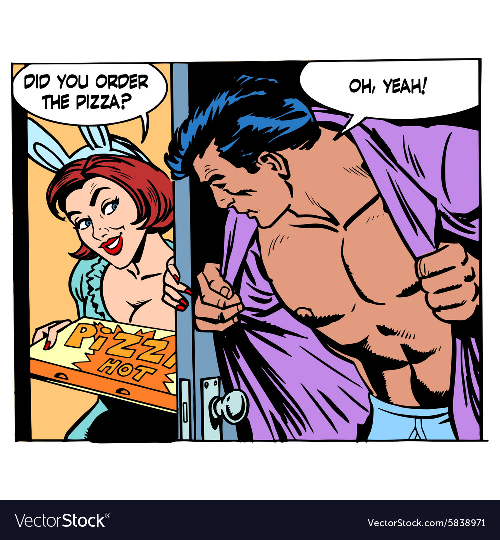 Pizza delivery game sexual man woman love romance vector image