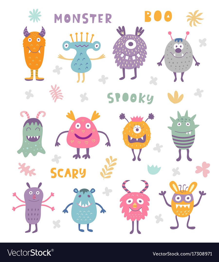 set of cute scary halloween monsters vector image