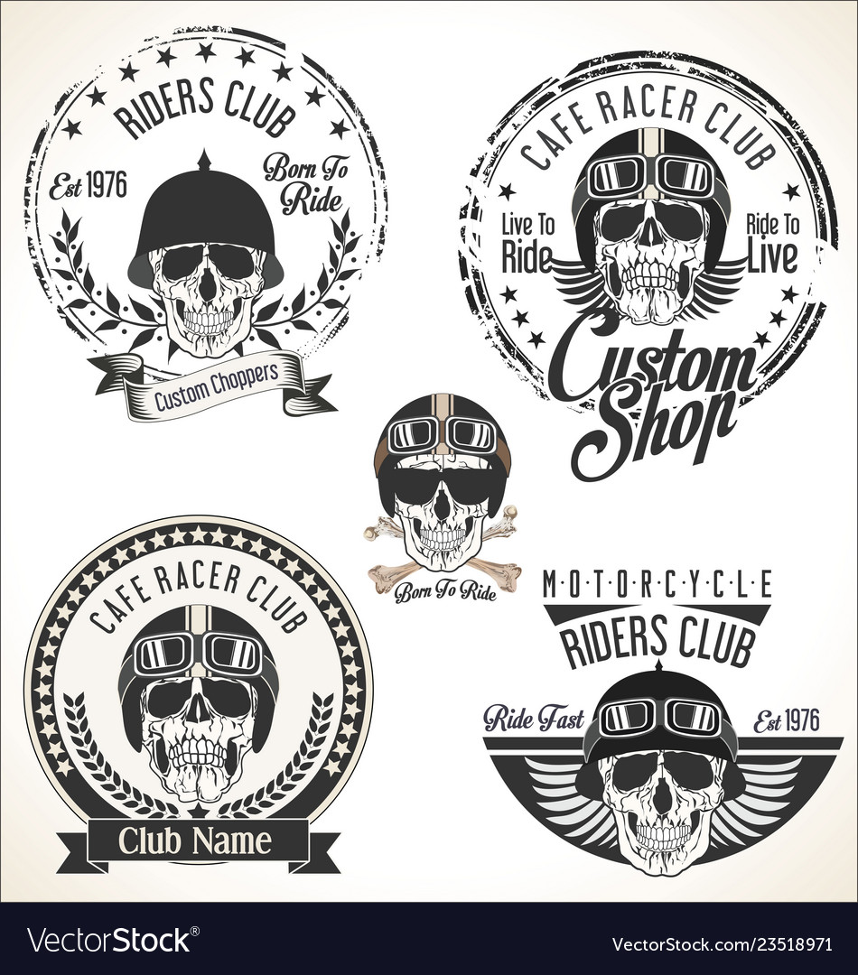 Set vintage motorcycle emblems and labels vector