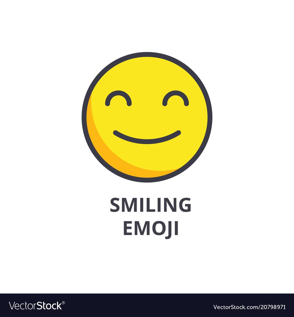 Smiling emoji line icon sign