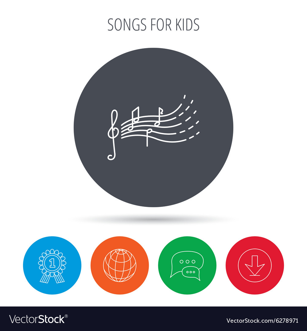 Songs for kids icon Musical notes melody sign