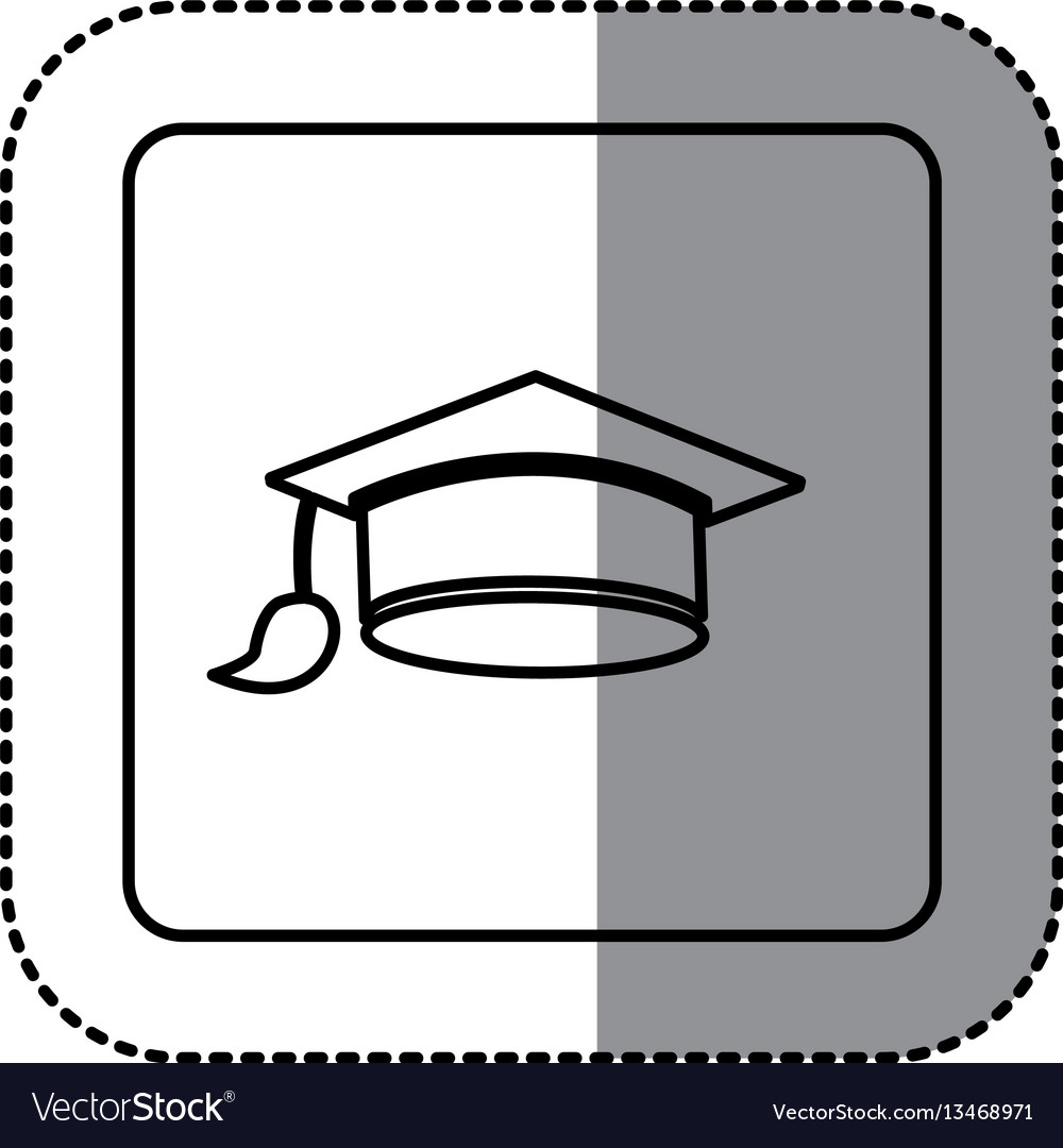 White emblem graduation hat icon