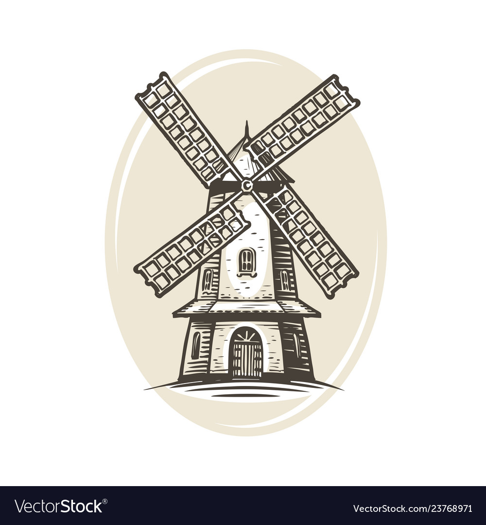 Windmill logo or label farm agriculture bakery