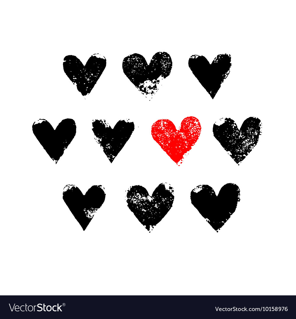 Black white and red grunge hearts print vector image