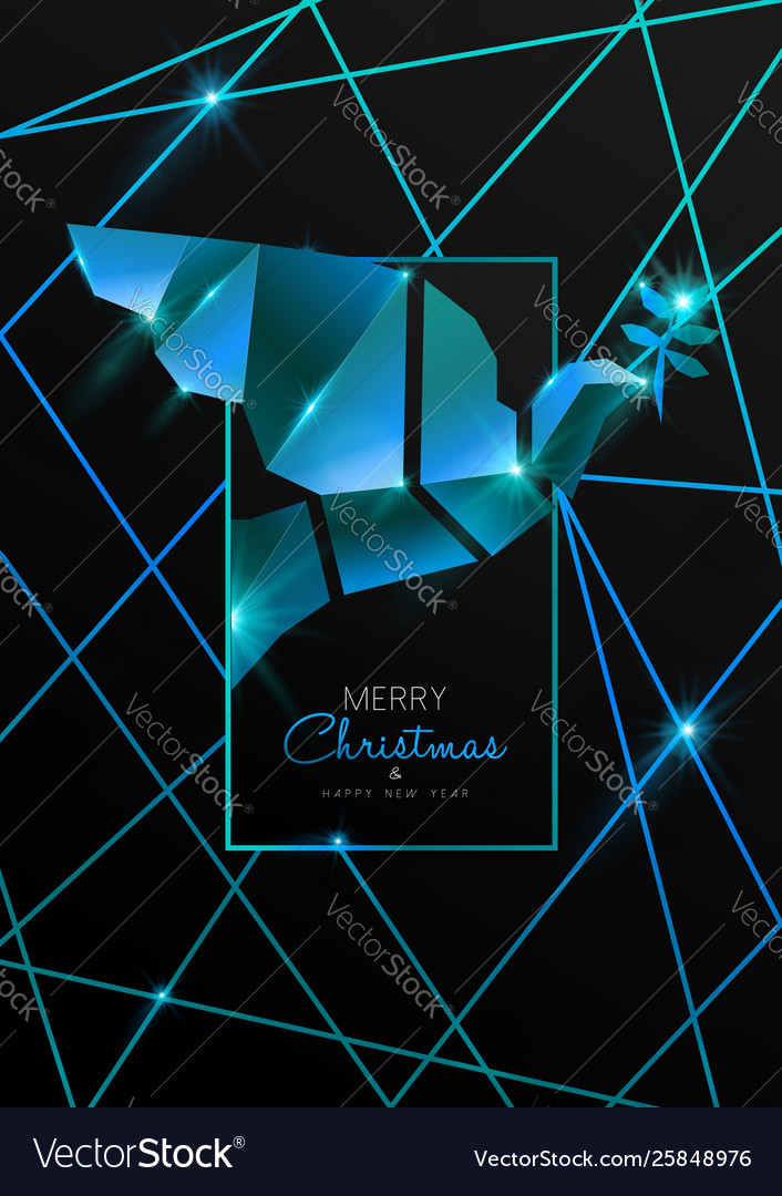 Christmas and new year card 3d art deco dove