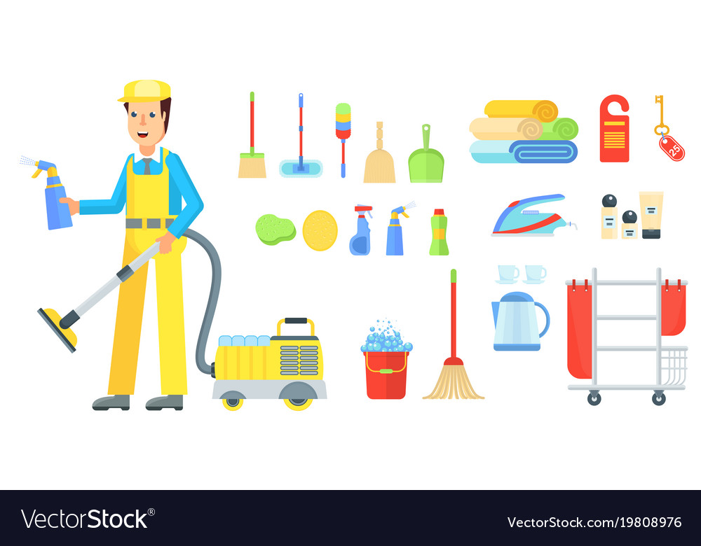 Cleaning service staff man