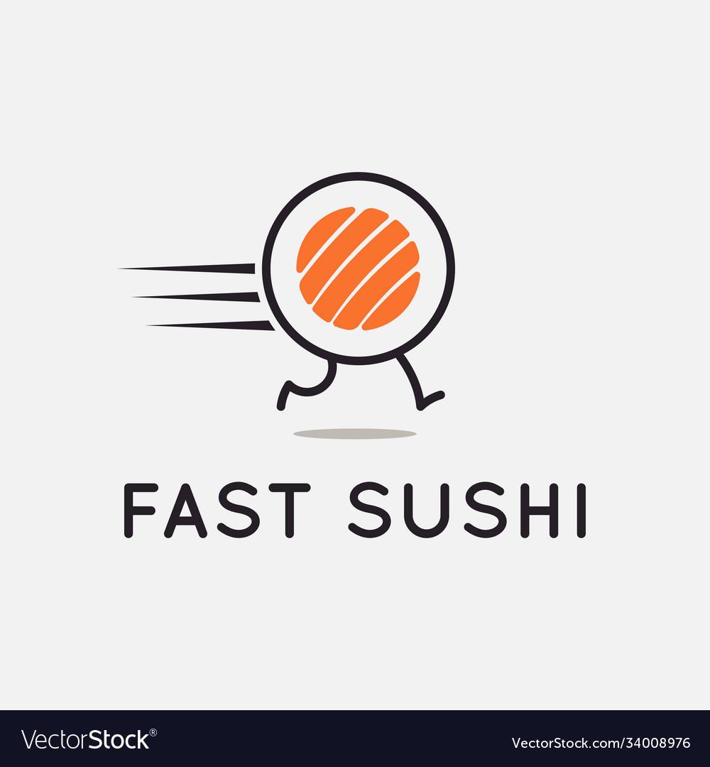 Fast sushi logo running sushi roll on background