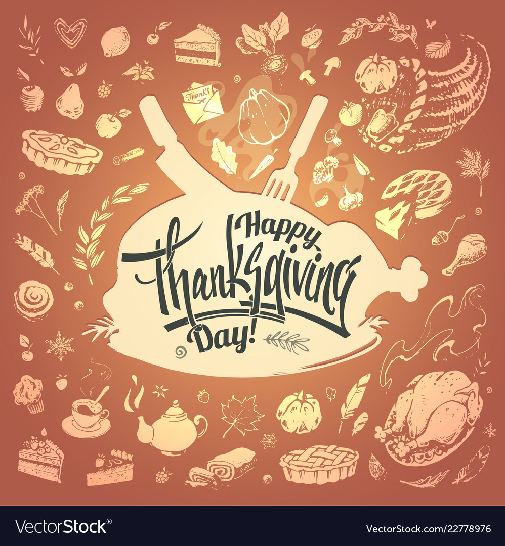 Happy thanksgiving card with hand drawn food icons