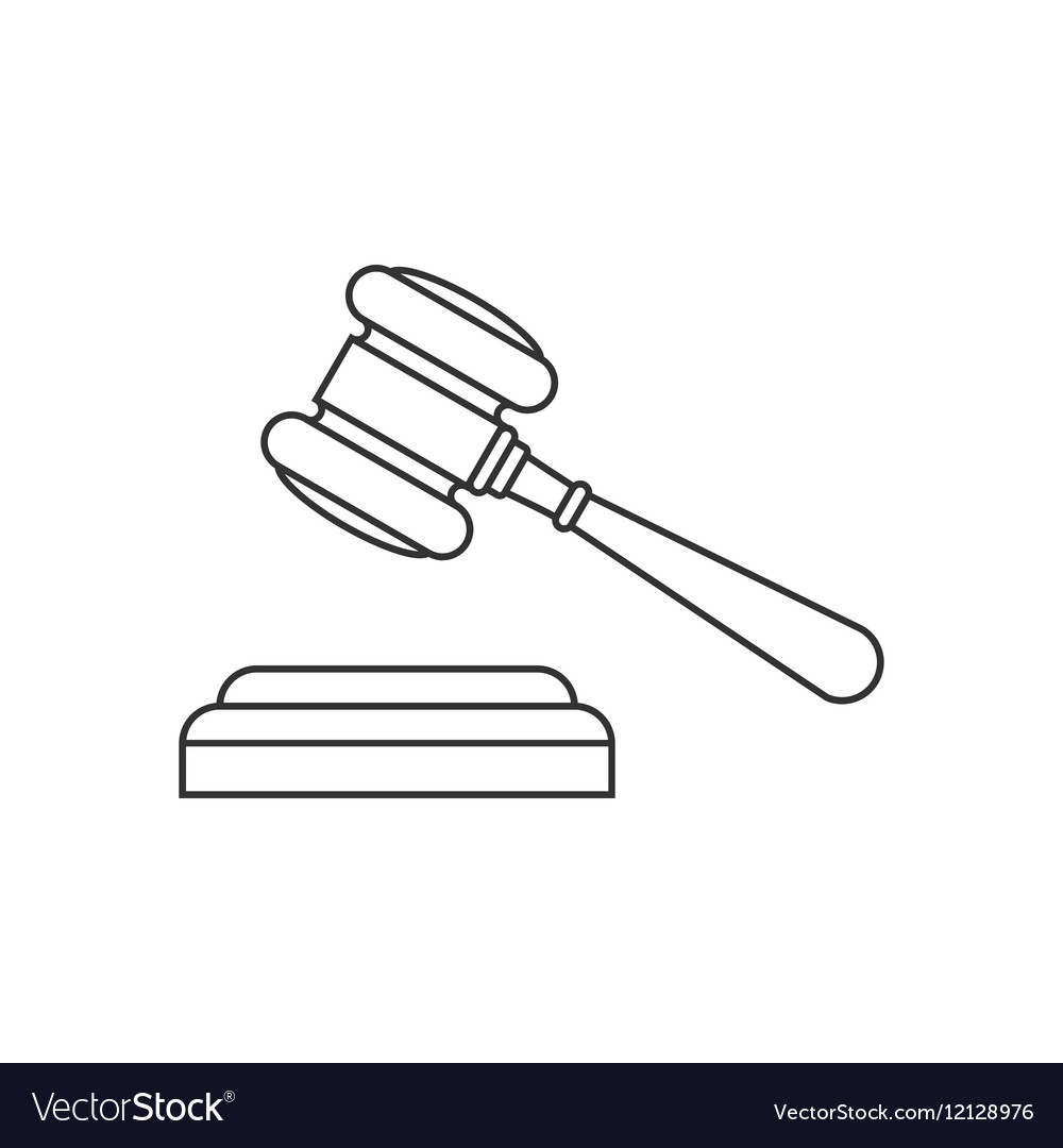 Judge gavel line icon vector image